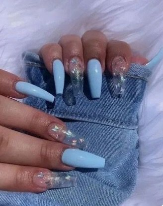 blue and clear acrylic nails