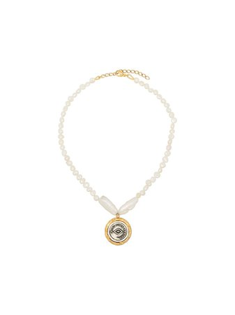 By Alona Demi 18K Gold-Plated Pearl Coin Necklace Ss20 | Farfetch.com