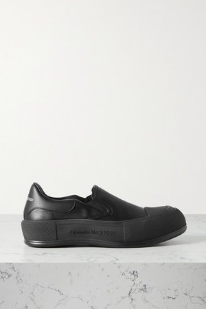 Leather Slip-on Exaggerated-sole Sneakers - Black