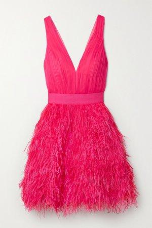 Pink Tegan feather-embellished chiffon mini dress   Alice + Olivia   NET-A-PORTER
