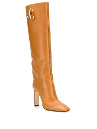Jimmy Choo Brown Logo 100 Knee-High Boots | Farfetch.com