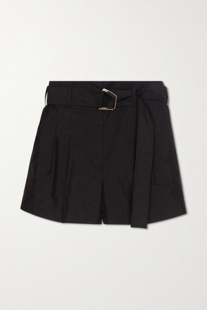 Belted Pleated Cotton-blend Shorts - Black