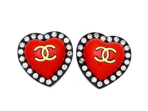 Vintage Chanel earrings red black heart rhinestone | Vintage Five