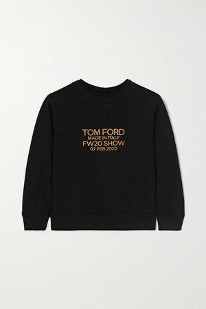 Printed Cotton-jersey Sweatshirt - Black