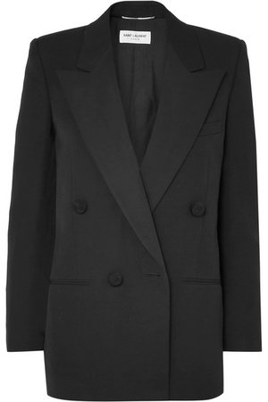 Saint Laurent | Double-breasted satin-trimmed wool blazer | NET-A-PORTER.COM