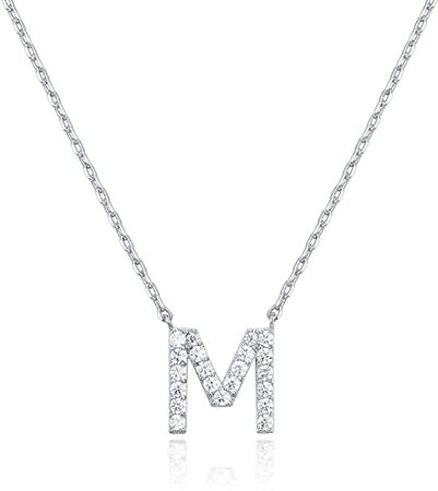 Amazon.com: PAVOI 14K White Gold Plated Cubic Zirconia Initial Necklace   Letter Necklaces for Women   M Initial: Clothing