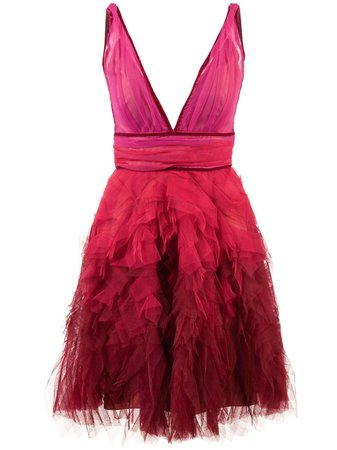 Marchesa Notte Ruffle Tulle Dress - Farfetch