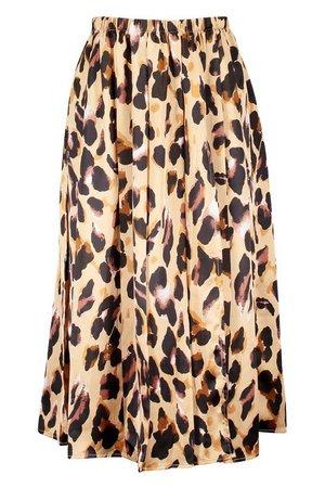 Petite Woven Leopard Print Split Front Midi Skirt | Boohoo camel
