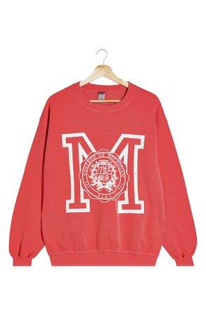 Topshop Michigan Crew Sweatshirt | Nordstrom