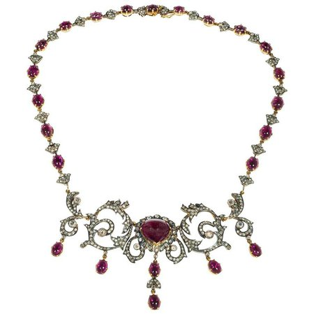 Victorian Tourmaline Diamond Silver Gold Pendant Necklace For Sale at 1stdibs