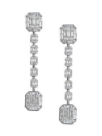 Zydo Mosaic 18K White Gold & Diamond Drop Earrings | SaksFifthAvenue