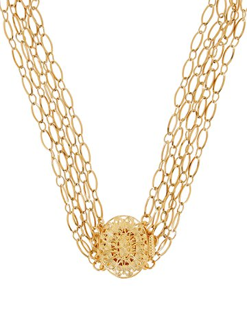 Timeless Pearly Layered Gold-Plated Chain Choker   INTERMIX®