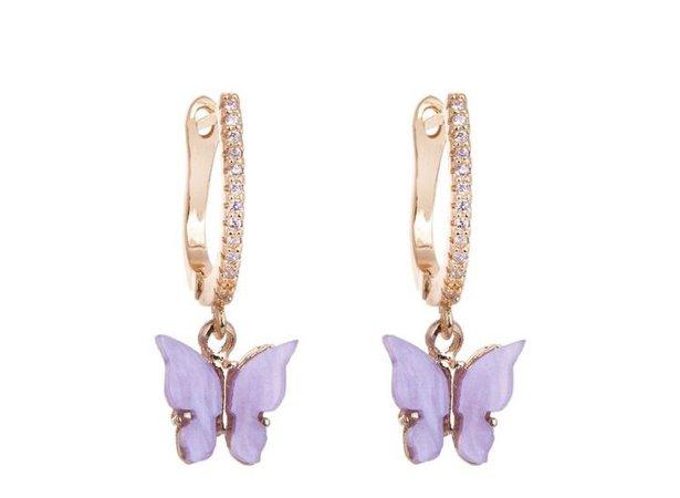 lavender butterfly huggie
