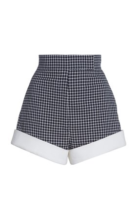 Sara Battaglia Cotton High-Waisted Plaid Shorts
