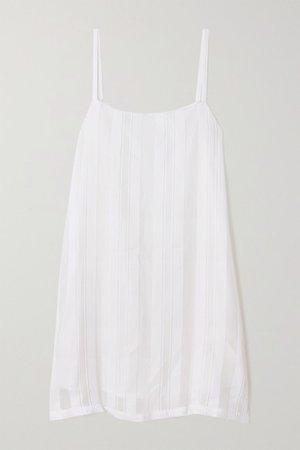 Striped Cotton And Silk-blend Mini Dress - White