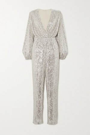 Silver Björk sequined tulle jumpsuit | In The Mood For Love | NET-A-PORTER