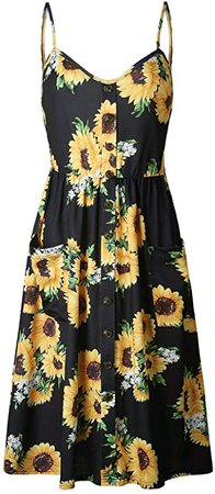 SWQZVT Women's Dress Summer Spaghetti Strap Sundress Casual Floral Midi Backless Button Up Swing Dresses with Pockets Black
