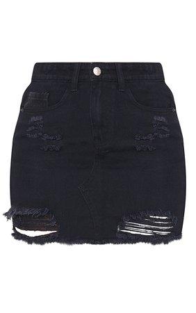 *clipped by @luci-her* Black Distressed Rip Denim Mini Skirt   Denim   PrettyLittleThing USA