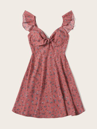 Ditsy Floral Knot Neck Ruffle Trim Dress | SHEIN USA