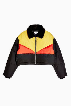 Panel Cropped Puffer Jacket | Topshop