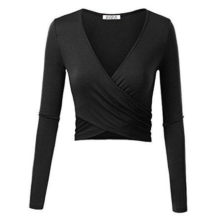 KIRA Women's Deep V Neck Long Sleeve Unique Cross Wrap Slim Fit Crop Tops Small Black