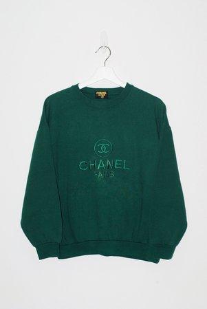 chanel green crewneck