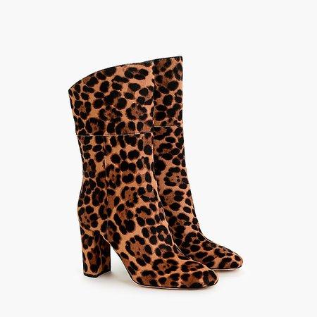 J.Crew: Midcalf High-heel Boots In Leopard Calf Hair