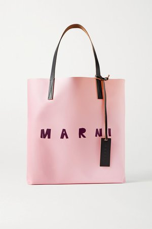 Printed Leather-trimmed Coated-pvc Tote - Baby pink