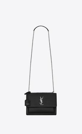Saint Laurent Medium Sunset Bag In Black Leather | YSL.com