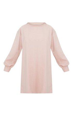 Nude Oversized Sweater Dress   Dresses   PrettyLittleThing