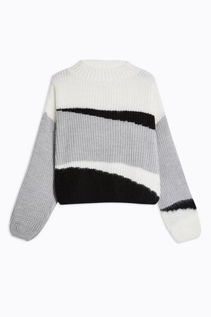 Knitted Colour Block Cropped Jumper | Topshop grey white black