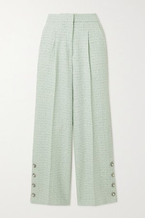 Button-embellished Sequined Wool-blend Tweed Straight-leg Pants - Mint
