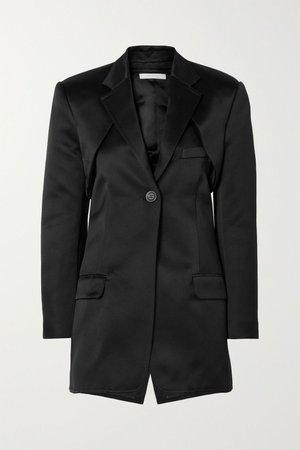 Black Convertible cutout silk-satin blazer   Peter Do   NET-A-PORTER