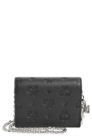 MCM Klara Monogram Leather Wallet on a Chain | Nordstrom