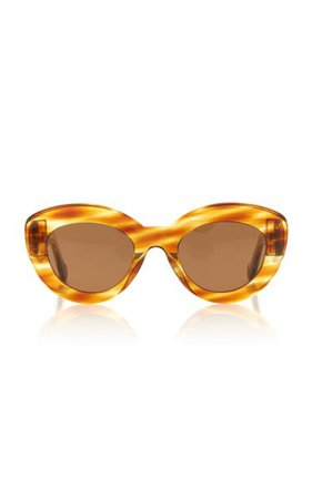 Butterfly Anagram-Detailed Acetate Round-Frame Sunglasses By Loewe | Moda Operandi