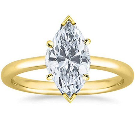 1/2 Ct GIA Certified Marquise Cut Solitaire Diamond Engagement Ring 14K White Gold (K Color VS2 Clarity) | Amazon.com