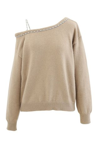 One-Shoulder Diamond Strap Knit Sweater in Camel - Retro, Indie and Unique Fashion