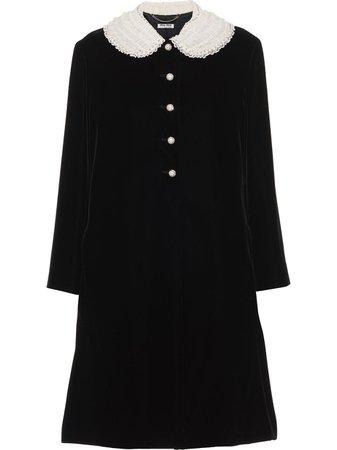Black Miu Miu embellished velvet coat - Farfetch