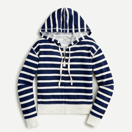 J.Crew: Cropped Hoodie In Striped Vintage Cotton Terry For Women