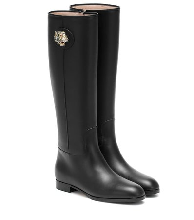 Gucci - Leather knee-high boots | Mytheresa
