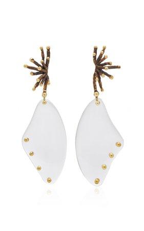 Lisa Eisner Quartz Crystal Winged Spore Earrings