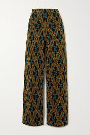 Metallic Argyle Merino Wool-blend Straight-leg Pants - Black