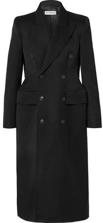 Hourglass Double-breasted Wool-blend Gabardine Coat - Black