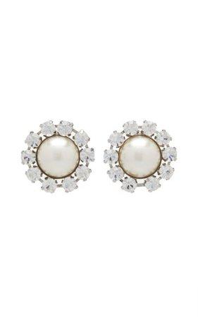 Crystal And Pearl Statement Stud Earrings By Alessandra Rich | Moda Operandi