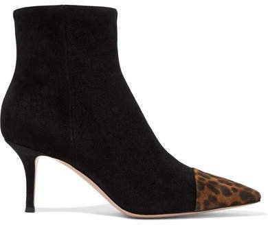 70 Two-tone Suede Ankle Boots - Black