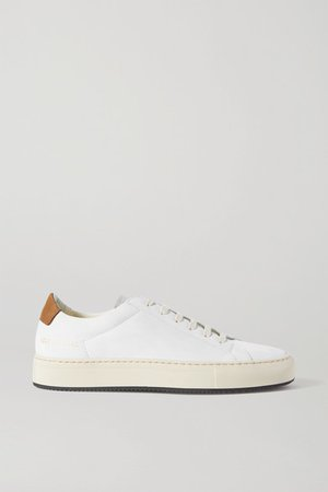 Retro Low Suede-trimmed Leather Sneakers - White