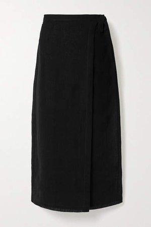 Linen-blend Gauze Wrap Midi Skirt - Black