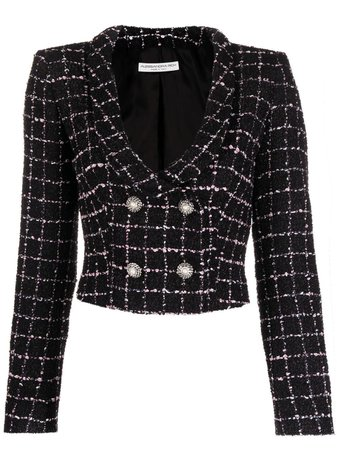 Alessandra Rich double-breasted tweed jacket black