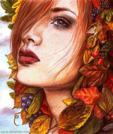 autumn women drawing - Google Search