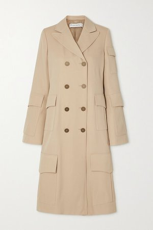 Double-breasted Wool Coat - Beige